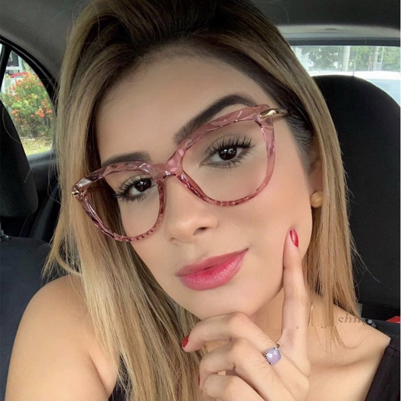 Crystal Transparent Clear Lens Glasses Women Luxury Vintage Retro Cat Eye Glasses Ladies Anti-blue Light Computer Optical Frames