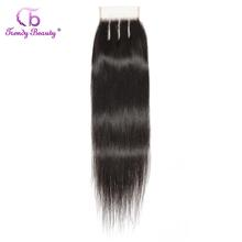 Lace Closure Human-Hair Beauty Straight Brazilian 4x4-Inches Trendy