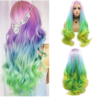 Sylvia Pink Green Blue Yellow Ombre Natural Wave Synthetic Lace Front Wigs Free Parting Multi Color Cosplay Heat Resistant Fiber
