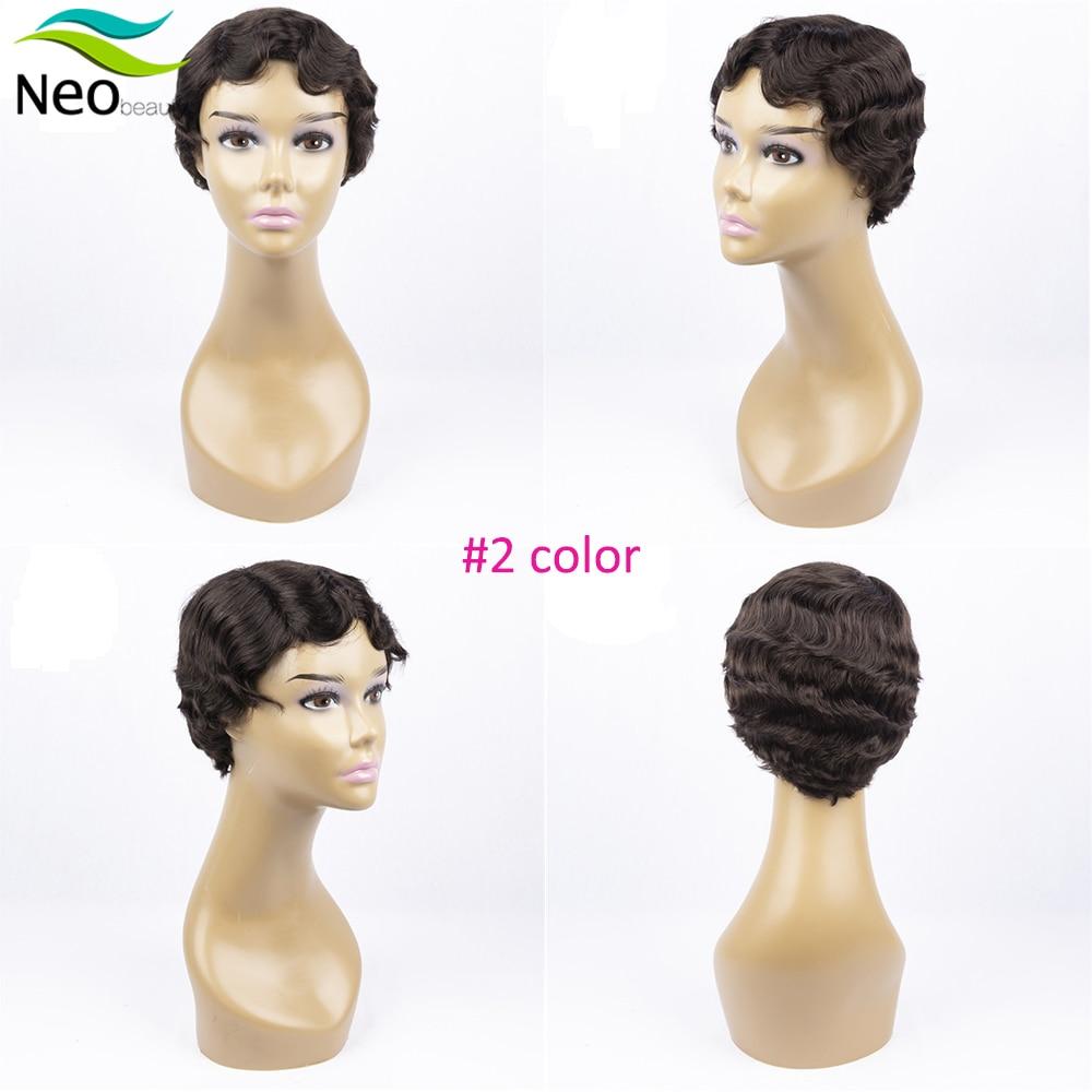 Pixie Cut Human Hair Wig No Lace Full Machine Human Hair Wigs For Black Women Curly Wig Short Bob Wig Human Hair