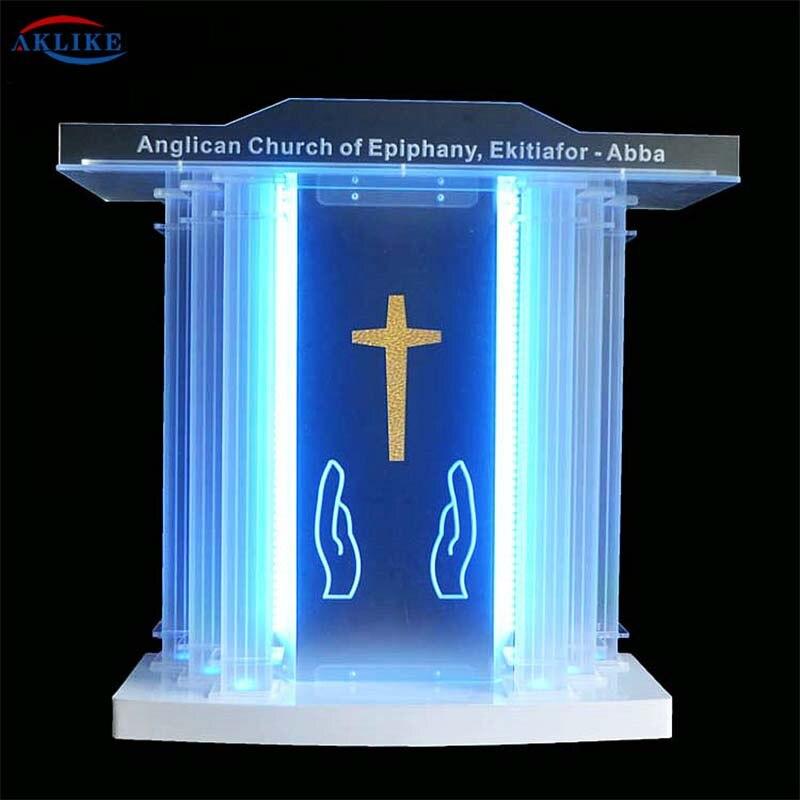 القسم الكنيسة المنبر الكاهن الزجاج تركيبات يعرض ديلوكس AKLIKE الاكريليك شبكي منبر المنصة الأثاث-الجدول الحديثة