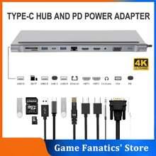 USB C 3.0 Dock MST Dual Screen Dual Display Adapter Hub USB Type C Laptop Docking Station For Lenovo ThinkPad HP Dell XPS