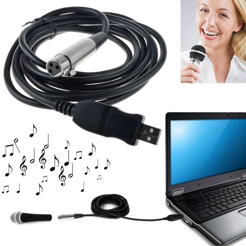 Tüketici Elektroniği'ten Mikrofonlar'de 3M USB erkek XLR dişi mikrofon USB MIC bağlantı kablosu yeni title=