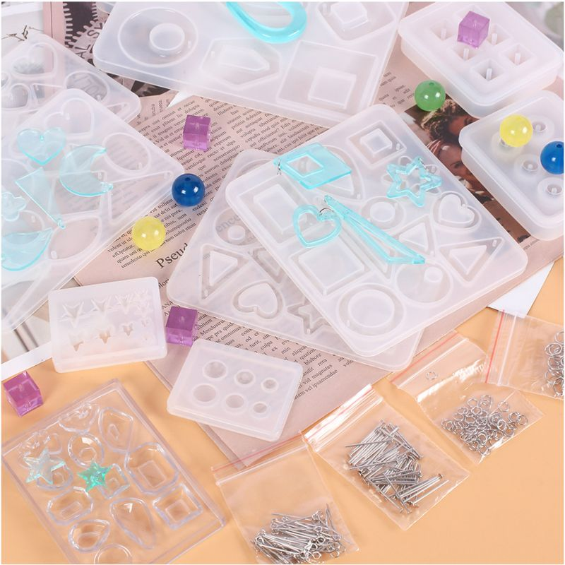DIY Crystal Epoxy Resin Mold Earrings Studs Ornament Pendant Casting Mould Handmade Crafts Jewelry Making Tool