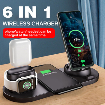 10W Qi Wireless Charger Station 6 in 1 For Iphone Airpods Micro USB Type C Stand phone Chargers For Apple Watch airpods Charging 1