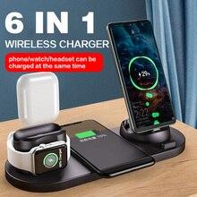 Estación de carga inalámbrica Qi 6 en 1, 10W, para Iphone, Airpods, Micro USB tipo C, soporte para cargadores de teléfono, Apple Watch, carga de airpods