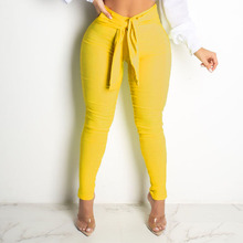 2020 Casual Pants Women Red Yellow Summer High Wai