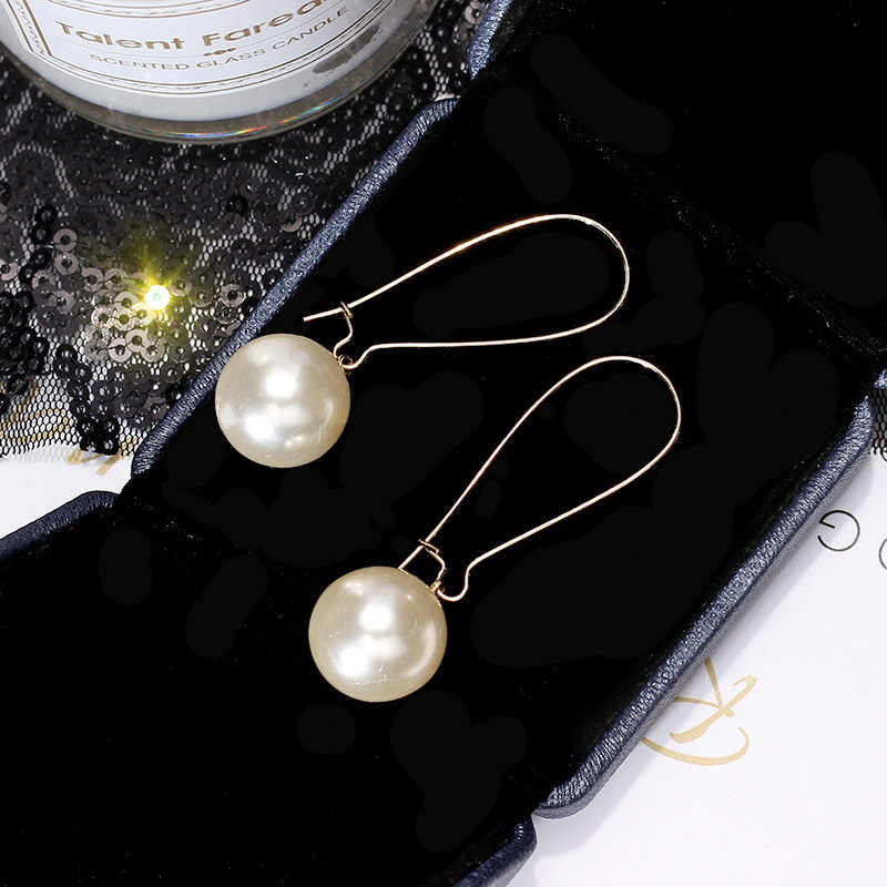 Shiny Side New Fashion Brand Jewelry Simple Pearl Dangle Earrings for Women Statement Gift Long Earrings Free Shipping