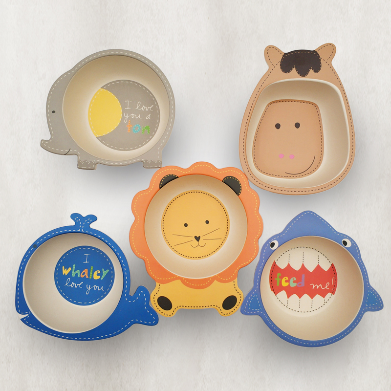 Baby Kids Natural Bamboo Fiber Toddler Children Plates Bowls Cute Animal Baby Infant Portable Cartoon Feeding Dishes Tableware