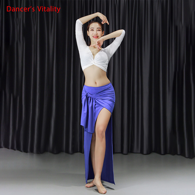 New Women Sexy And Elegance Belly Dance Practice Suit 2 Piece Set Modal Belly Dance Split Long Skirt Long Sleeve Blouse White