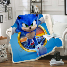 Anime Super Sonic Blanket Design Flannel Fleece Blanket Printed Children Warm Bed Throw Blanket Kids newborn bayby Blanket 001