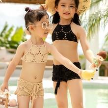 Swimsuit Bikini Crochet Children Girls Kids Beachwear Split Two-Pieces Summer Lovely