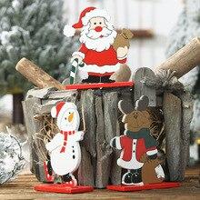 wooden ornaments wood christmas decorations for home новый год adornos 2019 disassembly Santa Claus desktop trinkets товары деко