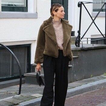 GOOHOJIO Fleece Faux Fur Coat Solid Women Fashion Winter Thicken Teddy Jacket Ladies Plush Overcoat Casual Outerwear Short Style