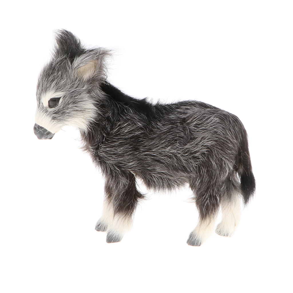 Lifelike Small Burro Model, Kids Faux Fur Animal Toy, Handicraft Collections, Home Ornament