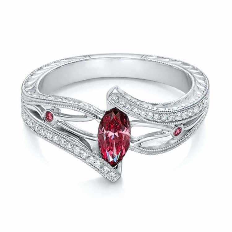 3 couleurs dames 925 anillos argent bague aigue-marine pierre bague de fiançailles pour femmes pierres bleu/rouge/vert zircon bijoux