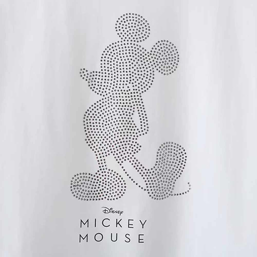 Disney Leuke Mickey Mouse Cartoon Brief Print Pailletten Wit T-shirt Casual Mode Vrouwen O-hals Trui Korte Mouw Tee Tops
