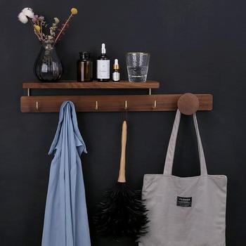 Wood Brass Hook Door Hanger Wall Hat Rack Porch Hook Bathroom Towel Storage Organizer Kitchen Tools Holder