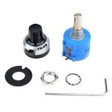 цена на 3590 10 Turn Potentiometer 500/2k/10k/50k Ohm Wirewound Multiturn Adjustable Resistor Precision with Rotary Dial Knob 6mm Shaft