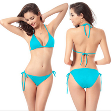 Summer New Hot Sexy Pure Color Women Bikini Set Bandage Swimsuit Multi-color Swimwear Ladies Halter Bra Bottom Beach Swim Wear