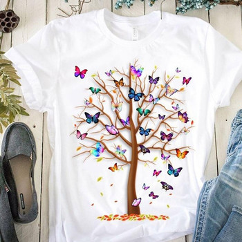Woman Butterfly Tree Print Harajuku Summer Tshirts Casual Round Neck Short Slee Top Tee Shirt