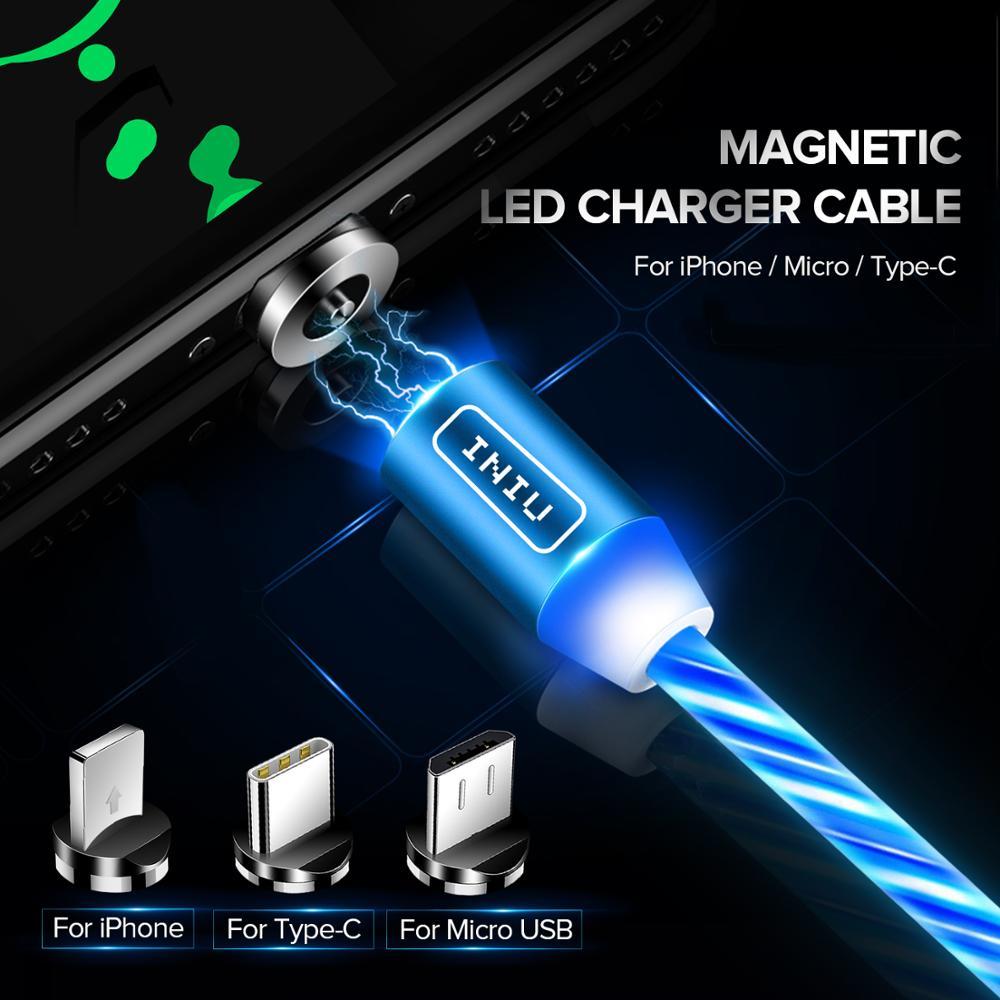 Магнитный usb кабель INIU со светодиодным освещением для зарядки Micro Type C, шнур для быстрой зарядки iPhone 11Pro, XR, 8 Plus|Кабели для мобильных телефонов|   | АлиЭкспресс