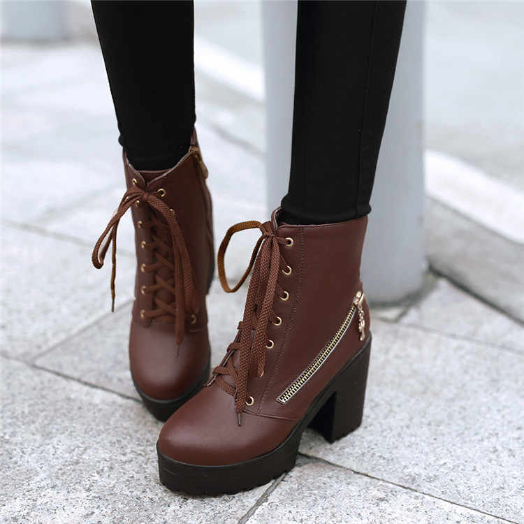 Лидер продаж; Ботинки martin в стиле панк и готика; женские ботильоны для верховой езды на высоком массивном квадратном каблуке; обувь на платформе на молнии со шнуровкой