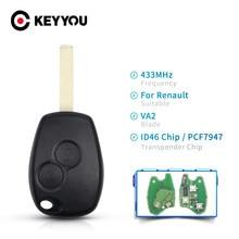KEYYOU 2 3 Tasten Keyless Fernbedienung Schlüssel Fob 433MHz Mit PCF7947 Chip Für Renault Clio Kangoo Master Modus logan Twingo Schlüssel