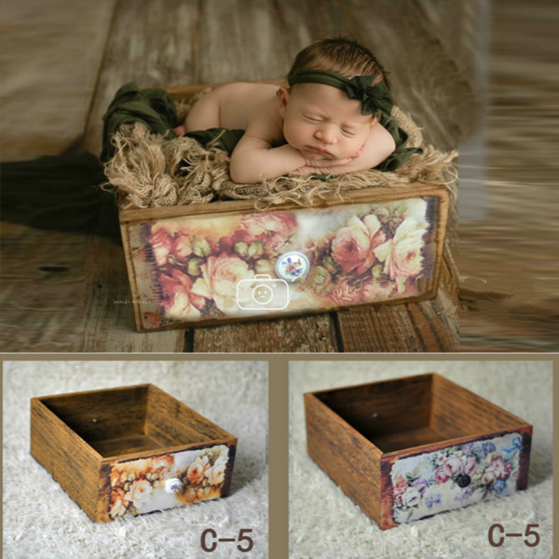 Newborn Photography Props Retro Wooden Box Vintage Print Flower Drawers Baby Shoot Container Studio New Accessories Baby Bed