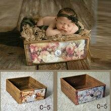 Accesorios de fotografía de recién nacido Retro caja de madera Vintage cajones de flores de impresión bebé Shoot contenedor estudio nuevos accesorios cama de bebé