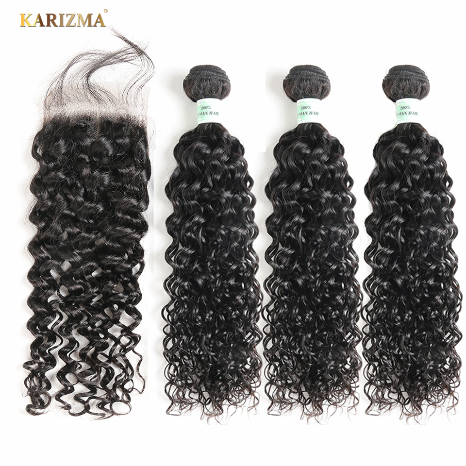 Malaysian Hair Bundles With Closure Karizma Human Hair Bundles Water Wave With Closure Non Remy Human Hair Extension Free Ship