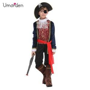 Umorden Halloween kostiumy dla chłopców piracki kapitan kostium jedno oko Deluxe piracki zestaw na Cosplay dla chłopca Kids Party element ubioru