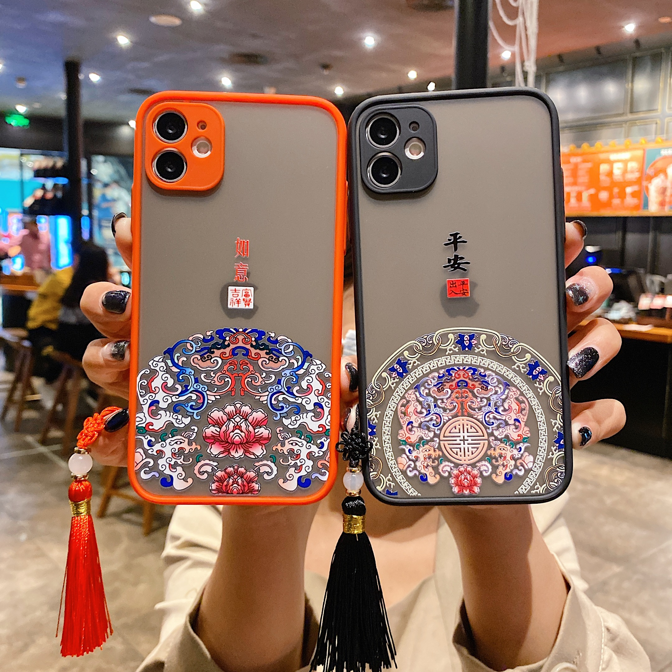 Chinese Auspicious Retro Palace Design Skin Feeling Phone Cases For Iphone 12 Mini 6 6S 7 8 Plus 11 Pro X XR Xs Max Tassel Cover
