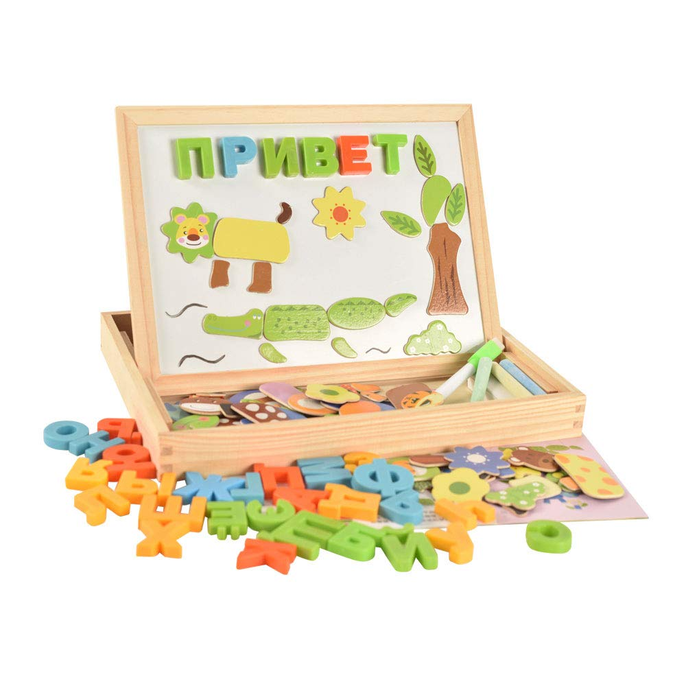 BOHS Wooden Russian Alphabet Letter Animal Magnetic Puzzle Drawing Board Learning & Education Toys Hobbies For Children Kids