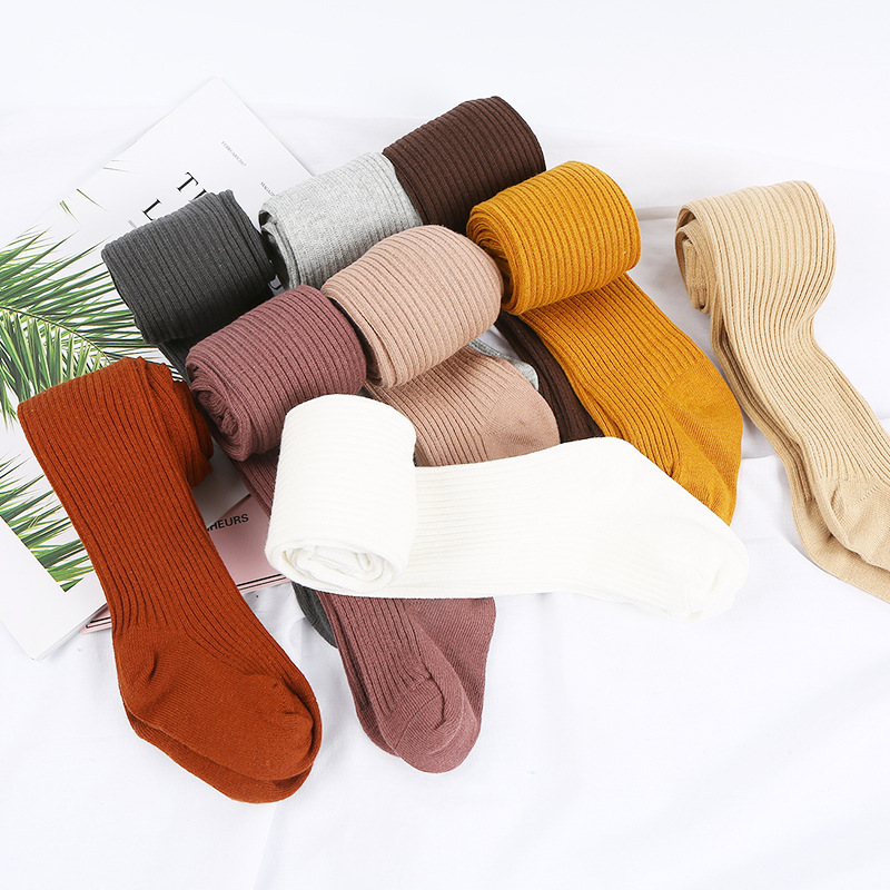 0-4Y Baby Autumn Winter Warm Tights Cotton Solid Ribbed Stockings Pantyhose