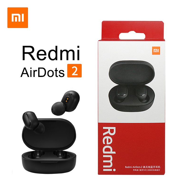 Original Xiaomi Redmi Airdots 2 TWS Earphone True Wireless Bluetooth 5 0 Stereo Bass With Mic Handsfree Earbuds AI Control