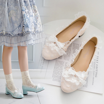 Loli Original Lolita Shoes Fairy Ball in Chunky-heel Bow Restonic Gong Zhu Students l Sen Xi Shoes Female image