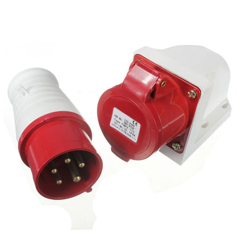 TOP 16 Amp 5 Pin Plug & Socket Weatherproof IP44 3 Phase 380-415v 3P + N + Earth 16A