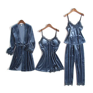 Image 5 - Gold Velvet Pajamas For Women 4 Pieces Winter Suit Home Clothes Woman Sexy Lace Robe Pajamas Sets Sleepwear Sleeveless Nightwear
