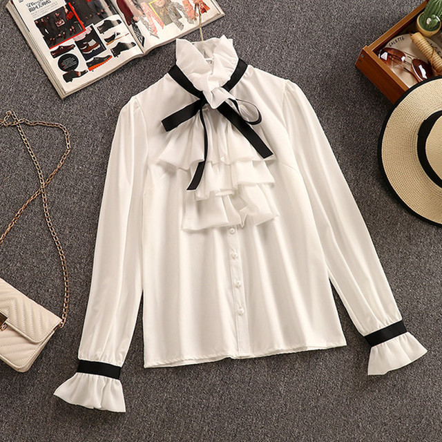2020 Autumn Winter 2 Piece Set Overalls Dress Women Elegant Ruffles Chiffon Bow Shirt Top+Double Breasted Plaid Tweed Vest Dress 2