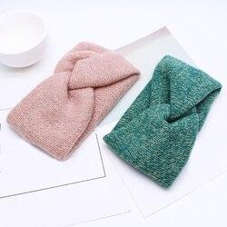New Women Crochet Twist Knitted Headband Cross Knotted Elastic Hairband Autumn Winter Vintage Girls Head Wrap Hair Accessories