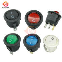 5Pcs/lot Black/White/Red/Blue ON/OFF Round Rocker Toggle Switch 6A/250VAC 10A 125VAC SPST 3PIN/2Pin Plastic Push Button Switch