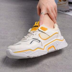 Image 3 - Zapatillas de deporte gruesas para mujer, zapatos vulcanizados informales de plataforma a la moda, zapato de cesta, deportivas, 2019