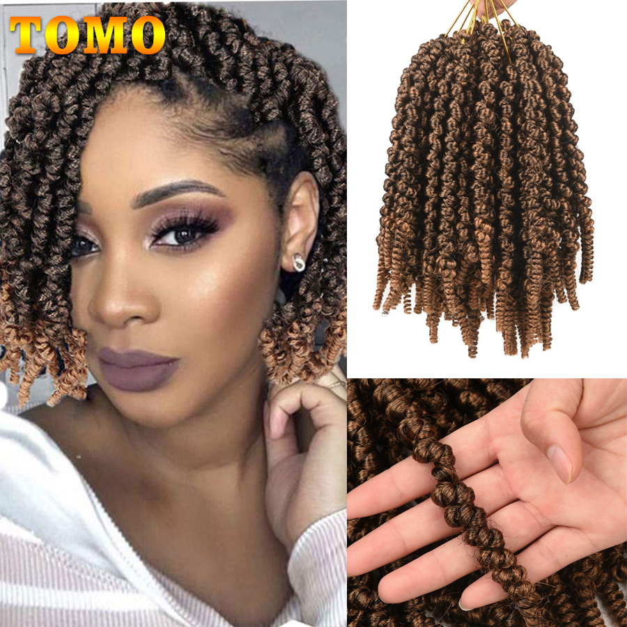 TOMO 8Inch Bomb Twist Hair Pre-Twisted Passion Twist Crochet Braids Short Curly Synthetic Spring Twist Braiding Hair Extensions