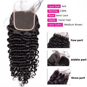 Image 2 - עמוק גל סגירת 4x4 סגירת תחרה שוויצרית תחרה בינוני חום מקסין ברזילאי שיער 10 20 אינץ שיער טבעי סגירת רמי שיער