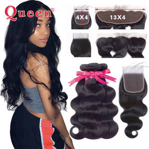 Queen Hair-Products Hair-Weave-Bundles Frontal Remy-Hair Body-Wave Closure Brazilian