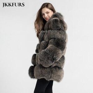 Image 2 - Abrigo de piel auténtica de zorro estilo de moda 2019 nuevas llegadas de alta calidad de invierno grueso cálido chaqueta de piel prendas de vestir exteriores S7362