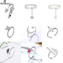 Anneaux de mariage en forme de feuille pour femmes, bijoux à la mode, élégants, ouverts, mignons, en forme de lune, d'étoile