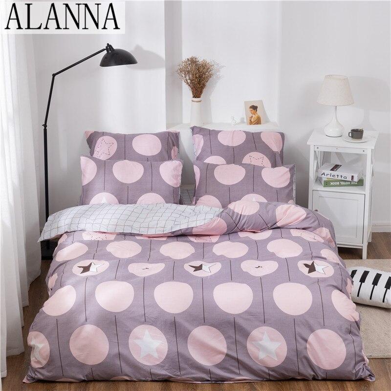 Juego de ropa de cama Alanna X-1003, estampado en color liso, juego de cama para el hogar, 4-7 uds, diseño encantador de gran calidad con flor de estrella para árbol