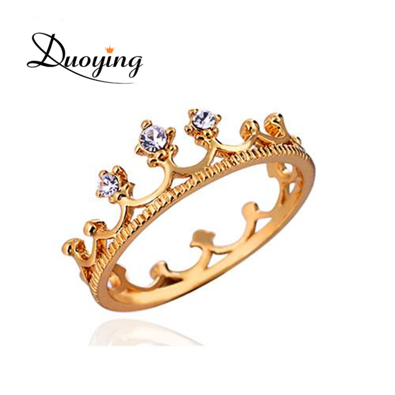 DUOYING Princess Crown Ring Gold Wedding Engagement Band Rings Zircon White Stone Crown Rings Copper Trendy Jewelry For Women